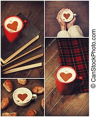 Collage of photos with cup and shape heart.