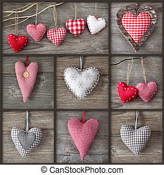 Collage of photos with hearts over grey wood background