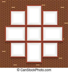 Collage of picture frames on the brick wall. Vector set. -...
