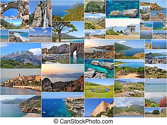 Corsica - collage of pictures of various Corsica places