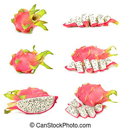 Collage of pitaya on a white background clipping path