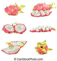 Collage of pitaya on a white background cutout
