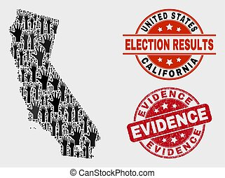 Collage of Poll California State Map and Distress Evidence Stamp Seal