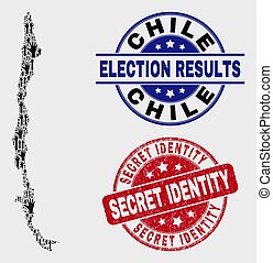Collage of Poll Chile Map and Distress Secret Identity Stamp Seal