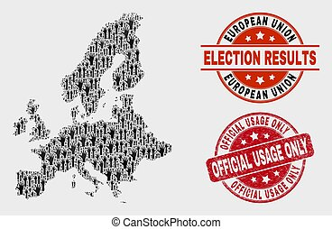 Collage of Poll European Union Map and Distress Official Usage Only Stamp