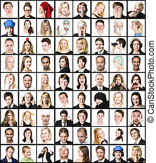 Collage of portraits isolated on white background