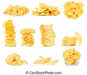 Collage of potato chips isolated on white background