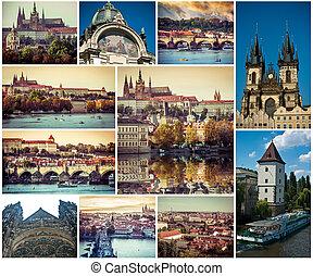 collage of Prague sights, Czech Republic