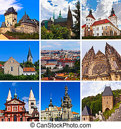 Collage of Praha Czech images - architecture and tourism background (my photos)