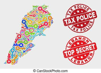 Collage of Protection Lebanon Map and Distress Tax Police Seal