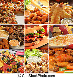 Collage of pub food. - Collage of pub food including cheese ...