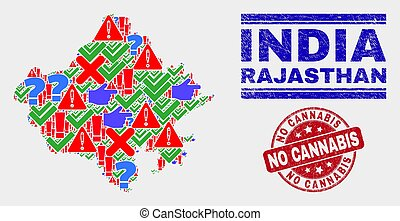 Collage of Rajasthan State Map Sign Mosaic and Grunge No Cannabis Stamp Seal