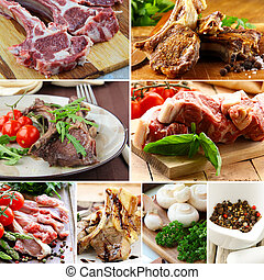 collage of raw and cooked lamb meat