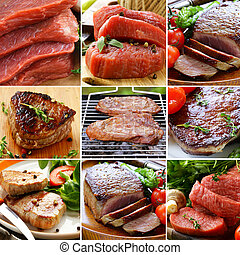 collage of raw and roasted meat