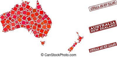 Collage of Red Mosaic Map of Australia and New Zealand and Grunge Rectangle Stamps
