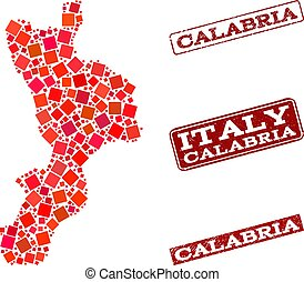 Collage of Red Mosaic Map of Calabria Region and Grunge...
