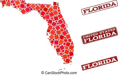 Collage of Red Mosaic Map of Florida State and Grunge Rectangle Stamps