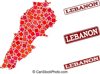 Collage of Red Mosaic Map of Lebanon and Grunge Rectangle Stamps
