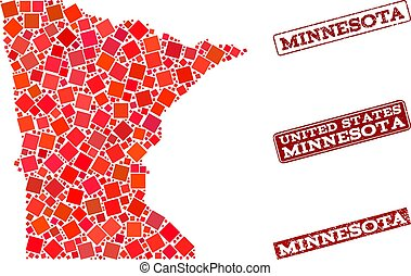 Collage of Red Mosaic Map of Minnesota State and Grunge Rectangle Stamps