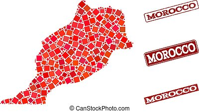 Collage of Red Mosaic Map of Morocco and Grunge Rectangle Stamps