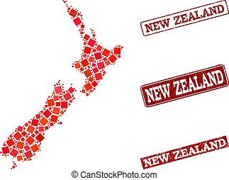 Collage of Red Mosaic Map of New Zealand and Grunge Rectangle Stamps