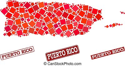 Collage of Red Mosaic Map of Puerto Rico and Grunge Rectangle Stamps