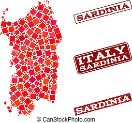 Collage of Red Mosaic Map of Sardinia Region and Grunge...