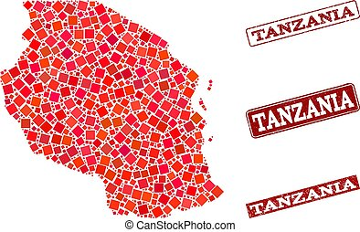 Collage of Red Mosaic Map of Tanzania and Grunge Rectangle Stamps
