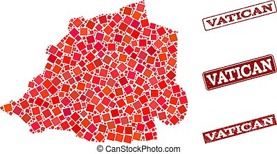 Collage of Red Mosaic Map of Vatican and Grunge Rectangle Stamps
