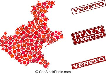 Collage of Red Mosaic Map of Veneto Region and Grunge...