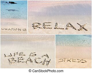 Collage of relaxation messages written on sand