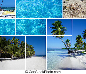 Collage of Republic Dominican - Water, boats and palms in a...