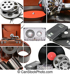 Collage of retro music and photo and video equipment. Gramophone, vinyl record, videocassettes and audiocassettes isolated on white.