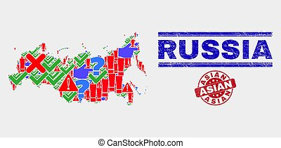 Collage of Russia Map Sign Mosaic and Scratched Asian Seal