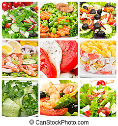 Collage of  salads