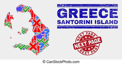 Collage of Santorini Island Map Symbol Mosaic and Grunge Next Page Seal