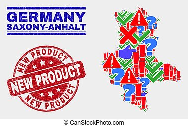 Collage of Saxony-Anhalt Land Map Sign Mosaic and Scratched New Product Stamp Seal
