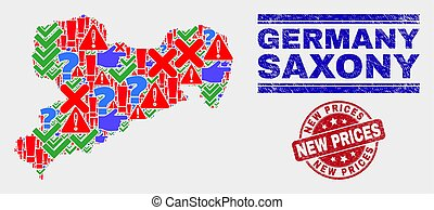 Collage of Saxony Land Map Symbol Mosaic and Grunge New Prices Stamp