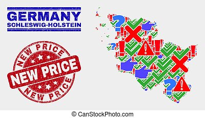 Collage of Schleswig-Holstein Land Map Sign Mosaic and Grunge New Price Seal