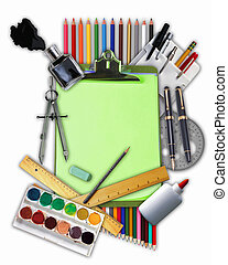 Collage of school stationery with notebook and pencils