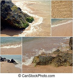 Collage of sea beach pictures. Set of summer vacation holiday images