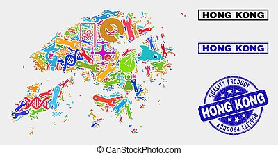 Collage of Service Hong Kong Map and Quality Product Stamp