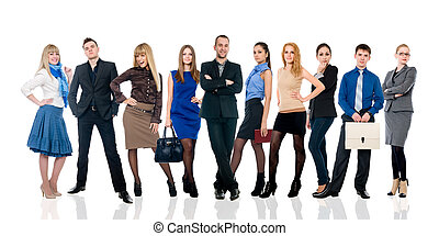Collage of several business people in different poses.