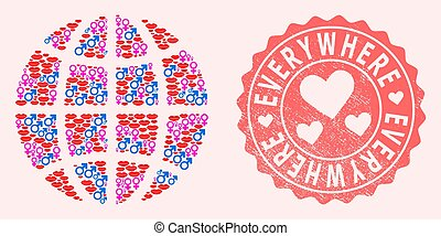 Collage of Sexy Smile Globe and Grunge Heart Stamp