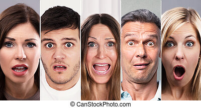Collage Of Shocked People