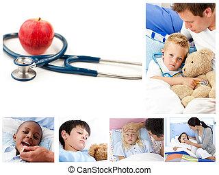 Collage of sick children