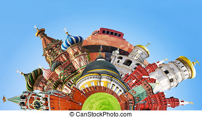 collage of sights of Moscow