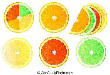 collage of slices of lemon, orange, grapefruit