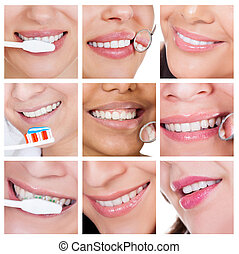 Collage of smiling woman cleaning her teeth. Isolated on...