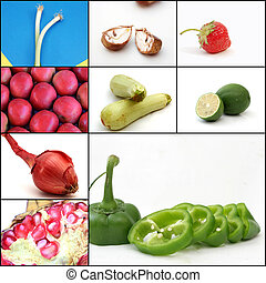 Collage of some fruits and vegetabl